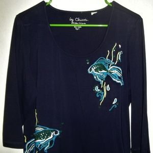 CHICO'S TROPICAL FISH 3/4 SLEEVE SCOOP NECK BLOUSE
